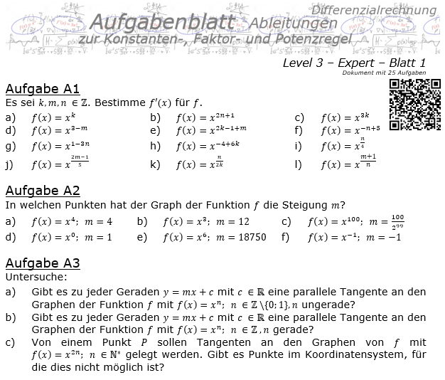 Konstanten-/Faktor-/Potenzregel Aufgabenblatt Level 3 / Blatt 1 / © by Fit-in-Mathe-Online.de