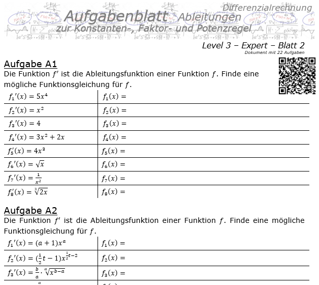Konstanten-/Faktor-/Potenzregel Aufgabenblatt Level 3 / Blatt 2 / © by Fit-in-Mathe-Online.de