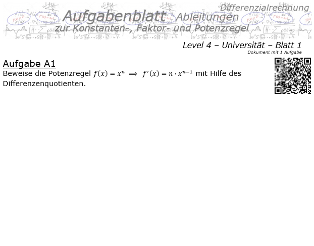 Konstanten-/Faktor-/Potenzregel Aufgabenblatt Level 4 / Blatt 1 / © by Fit-in-Mathe-Online.de