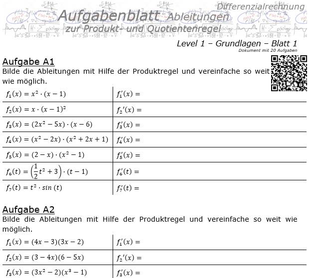 Produktregel und Quotientenregel der Ableitungen Aufgabenblatt 1/1 / © by Fit-in-Mathe-Online.de