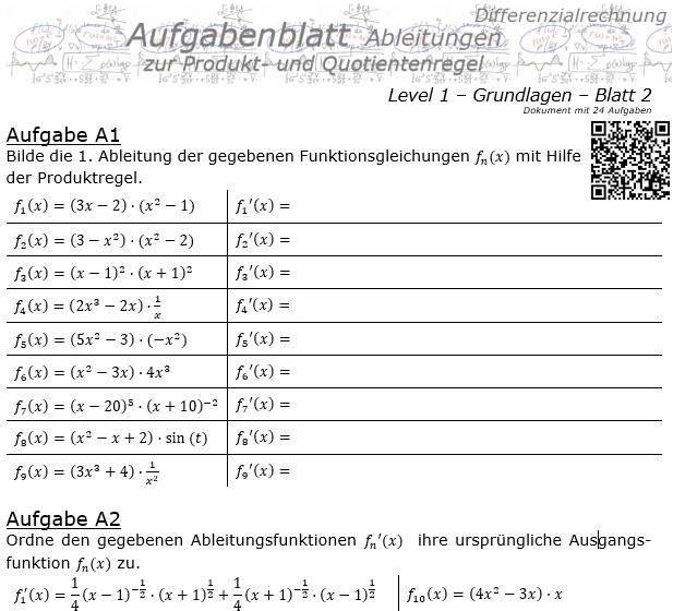 Produktregel und Quotientenregel der Ableitungen Aufgabenblatt 1/2 / © by Fit-in-Mathe-Online.de