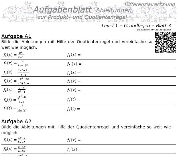 Produktregel und Quotientenregel der Ableitungen Aufgabenblatt 1/3 / © by Fit-in-Mathe-Online.de