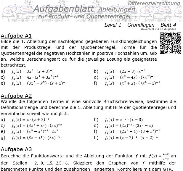 Produktregel und Quotientenregel der Ableitungen Aufgabenblatt 1/4 / © by Fit-in-Mathe-Online.de