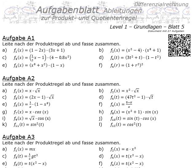 Produktregel und Quotientenregel der Ableitungen Aufgabenblatt 1/5 / © by Fit-in-Mathe-Online.de