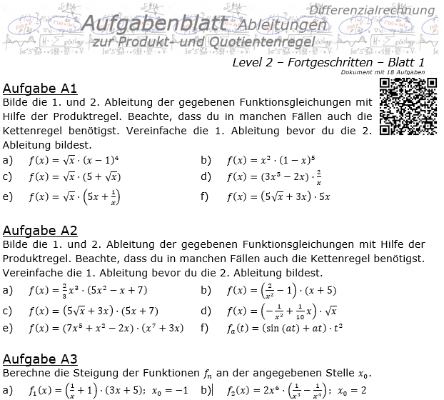Produktregel und Quotientenregel der Ableitungen Aufgabenblatt 2/1 / © by Fit-in-Mathe-Online.de