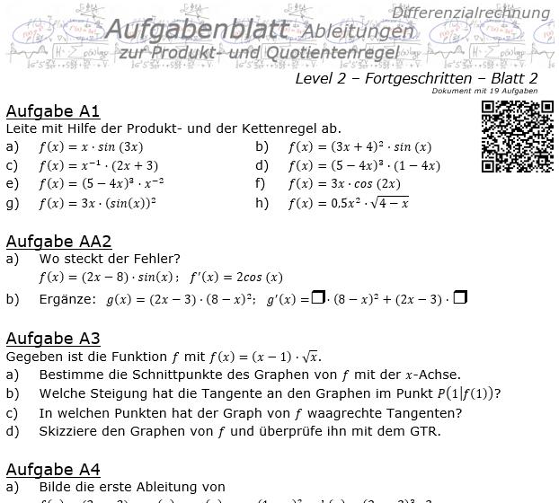 Produktregel und Quotientenregel der Ableitungen Aufgabenblatt 2/2 / © by Fit-in-Mathe-Online.de