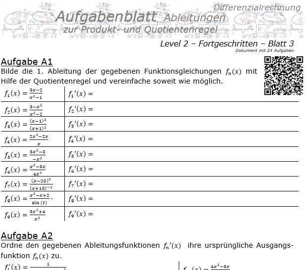 Produktregel und Quotientenregel der Ableitungen Aufgabenblatt 2/3 / © by Fit-in-Mathe-Online.de