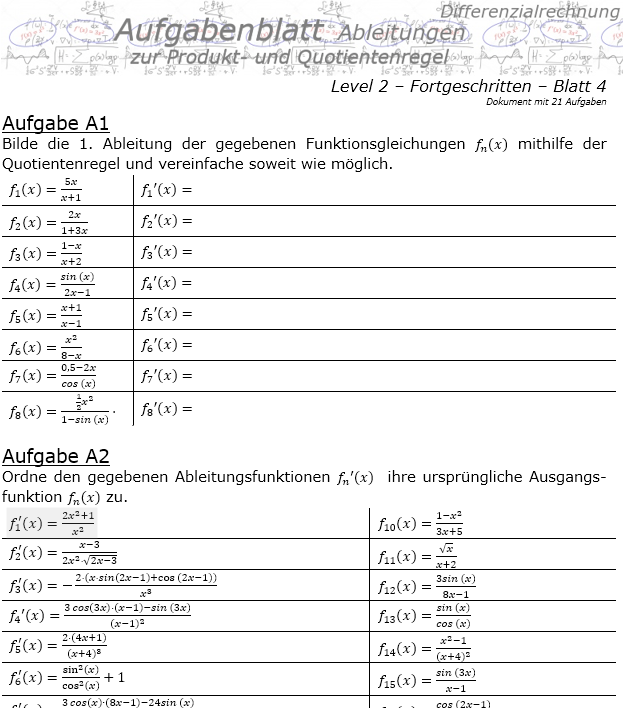 Produktregel und Quotientenregel der Ableitungen Aufgabenblatt 2/4 / © by Fit-in-Mathe-Online.de