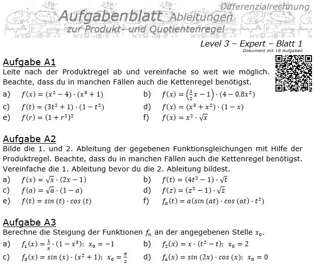 Produktregel und Quotientenregel der Ableitungen Aufgabenblatt 3/1 / © by Fit-in-Mathe-Online.de