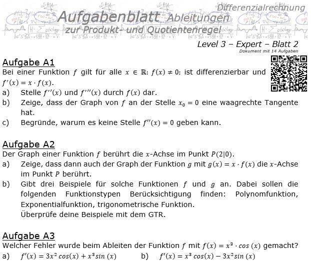 Produktregel und Quotientenregel der Ableitungen Aufgabenblatt 3/2 / © by Fit-in-Mathe-Online.de