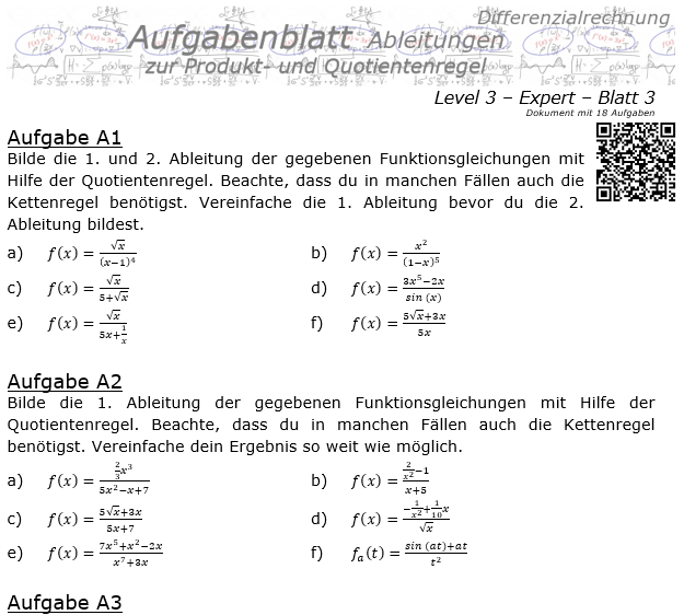Produktregel und Quotientenregel der Ableitungen Aufgabenblatt 3/3 / © by Fit-in-Mathe-Online.de