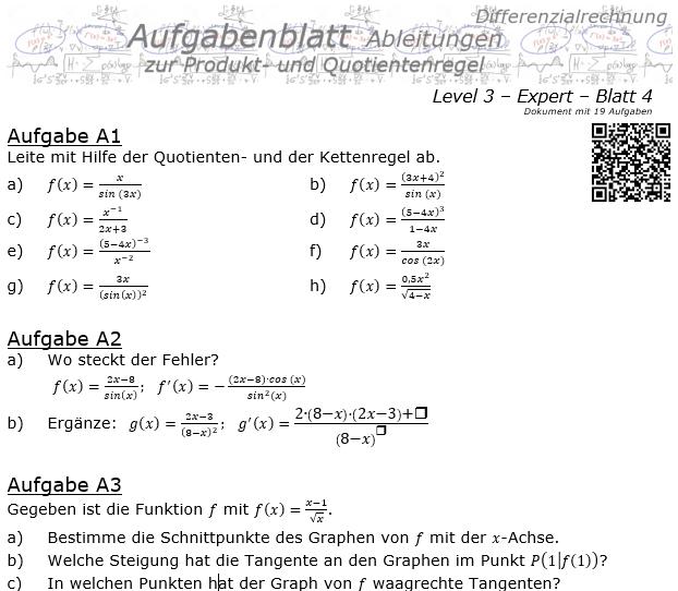 Produktregel und Quotientenregel der Ableitungen Aufgabenblatt 3/4 / © by Fit-in-Mathe-Online.de
