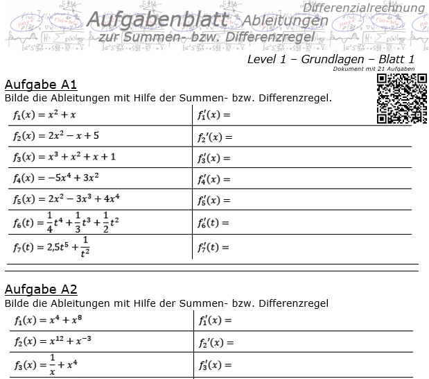 Summenregel und Differenzregel der Ableitungen Aufgabenblatt 1/1 / © by Fit-in-Mathe-Online.de