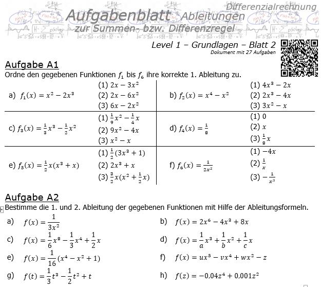 Summenregel und Differenzregel der Ableitungen Aufgabenblatt 1/2 / © by Fit-in-Mathe-Online.de