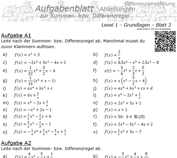 Summenregel und Differenzregel der Ableitungen Aufgabenblatt 1/3 / © by Fit-in-Mathe-Online.de