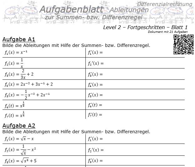 Summenregel und Differenzregel der Ableitungen Aufgabenblatt 2/1 / © by Fit-in-Mathe-Online.de