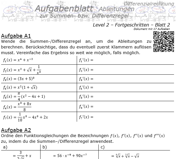Summenregel und Differenzregel der Ableitungen Aufgabenblatt 2/2 / © by Fit-in-Mathe-Online.de