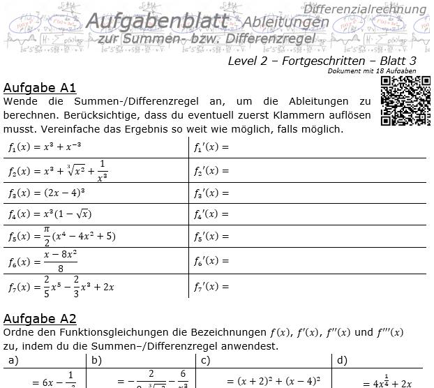 Summenregel und Differenzregel der Ableitungen Aufgabenblatt 2/3 / © by Fit-in-Mathe-Online.de