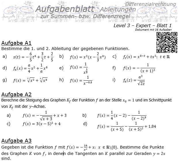 Summenregel und Differenzregel der Ableitungen Aufgabenblatt 3/1 / © by Fit-in-Mathe-Online.de