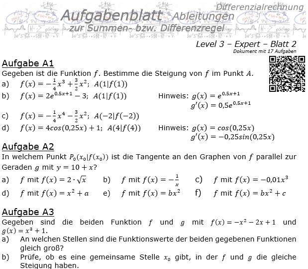 Summenregel und Differenzregel der Ableitungen Aufgabenblatt 3/2 / © by Fit-in-Mathe-Online.de