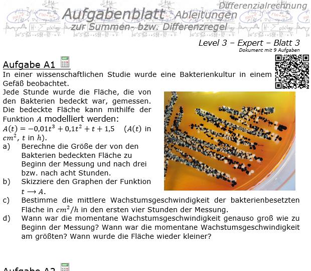Summenregel und Differenzregel der Ableitungen Aufgabenblatt 3/3 / © by Fit-in-Mathe-Online.de