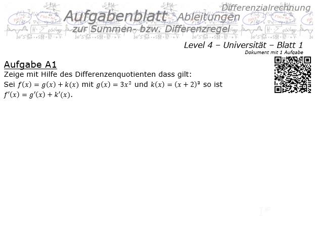 Summenregel und Differenzregel der Ableitungen Aufgabenblatt 4/1 / © by Fit-in-Mathe-Online.de