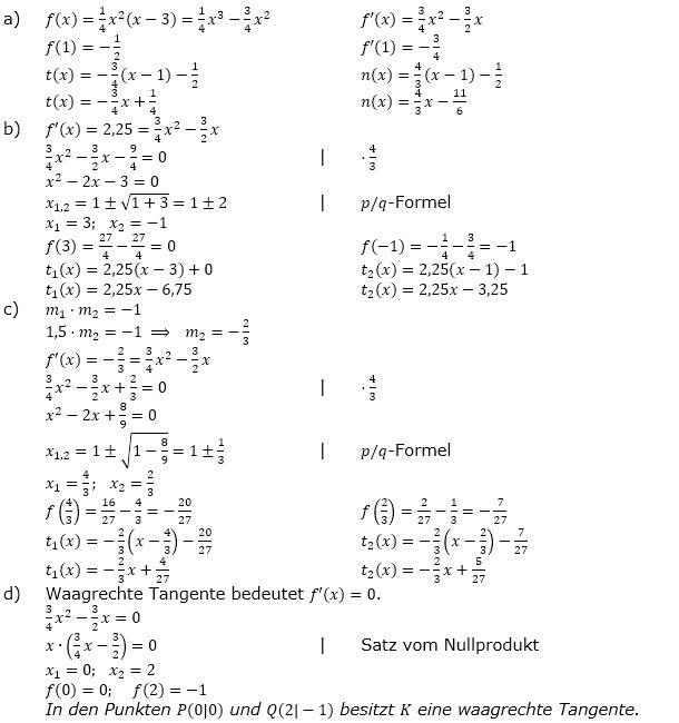 Tangente und Normale in der Differenzialrechnung. Lösungen zum Aufgabensatz 3 Blatt 1/1 Grundlagen Bild 1/© by www.fit-in-mathe-online.de