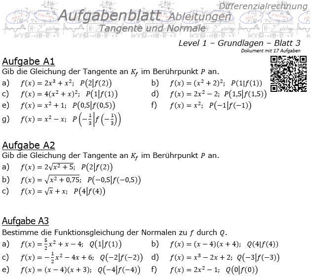 Tangente und Normale in der Differenzialrechnung Aufgabenblatt 1/3 / © by Fit-in-Mathe-Online.de