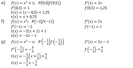 Tangente und Normale in der Differenzialrechnung. Lösungen zum Aufgabensatz 1 Blatt 1/3 Grundlagen Bild 2/© by www.fit-in-mathe-online.de