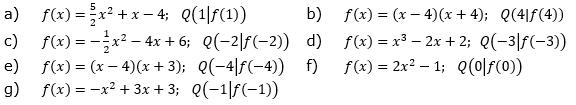 Bestimme die Funktionsgleichung der Normalen zu f durch Q. (Grafik A130301 im Aufgabensatz 3 Blatt 1/3 Grundlagen zu Tangente und Normale in der Differenzialrechnung) /© by www.fit-in-mathe-online.de)