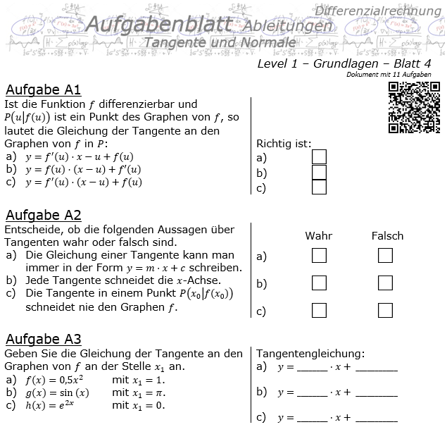 Tangente und Normale in der Differenzialrechnung Aufgabenblatt 1/4 / © by Fit-in-Mathe-Online.de