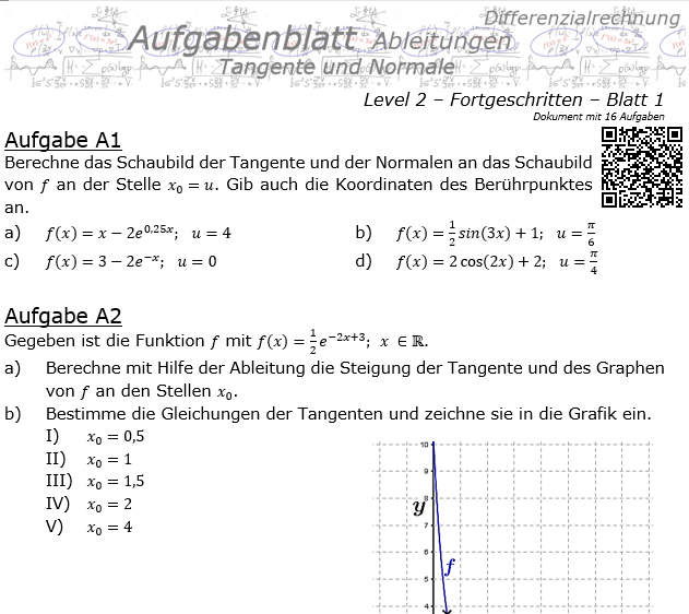 Tangente und Normale in der Differenzialrechnung Aufgabenblatt 2/1 / © by Fit-in-Mathe-Online.de
