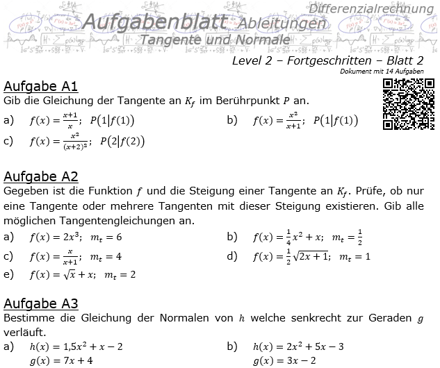 Tangente und Normale in der Differenzialrechnung Aufgabenblatt 2/2 / © by Fit-in-Mathe-Online.de
