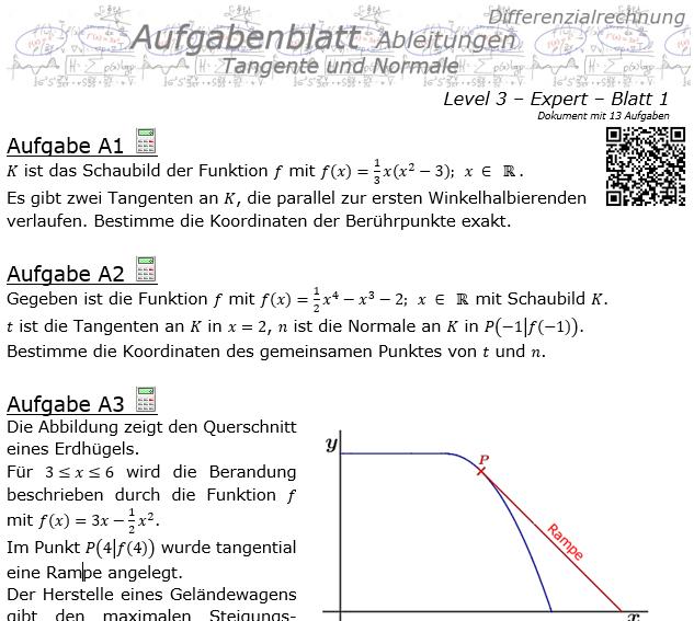 Tangente und Normale in der Differenzialrechnung Aufgabenblatt 3/1 / © by Fit-in-Mathe-Online.de