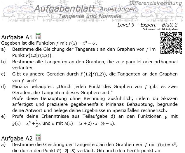 Tangente und Normale in der Differenzialrechnung Aufgabenblatt 3/2 / © by Fit-in-Mathe-Online.de