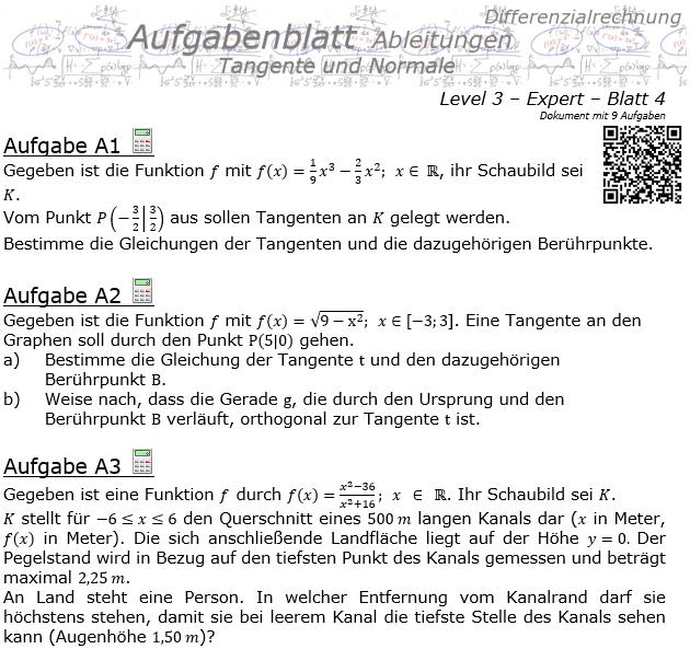 Tangente und Normale in der Differenzialrechnung Aufgabenblatt 3/4 / © by Fit-in-Mathe-Online.de