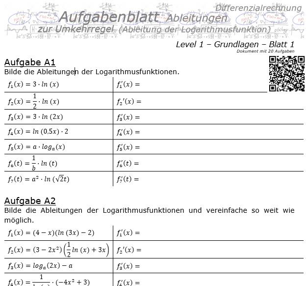 Ableitung Logarithmusfunktion (Umkehrregel) Aufgabenblatt 1/1 / © by Fit-in-Mathe-Online.de
