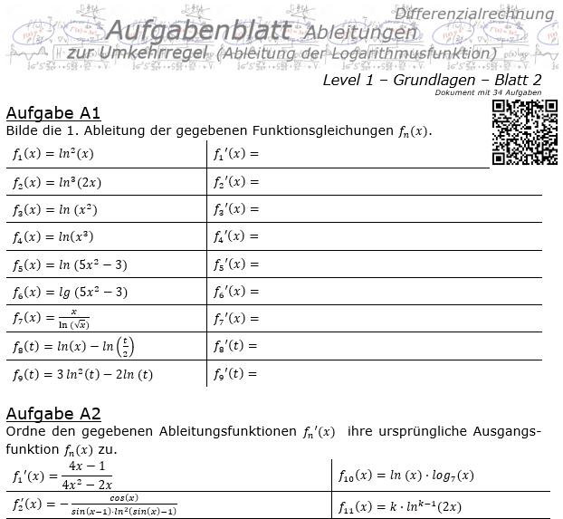 Ableitung Logarithmusfunktion (Umkehrregel) Aufgabenblatt 1/2 / © by Fit-in-Mathe-Online.de