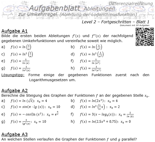 Ableitung Logarithmusfunktion (Umkehrregel) Aufgabenblatt 2/1 / © by Fit-in-Mathe-Online.de