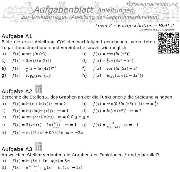 Ableitung Logarithmusfunktion (Umkehrregel) Aufgabenblatt 2/2 / © by Fit-in-Mathe-Online.de