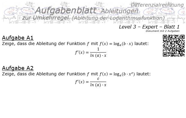 Ableitung Logarithmusfunktion (Umkehrregel) Aufgabenblatt 3/1 / © by Fit-in-Mathe-Online.de