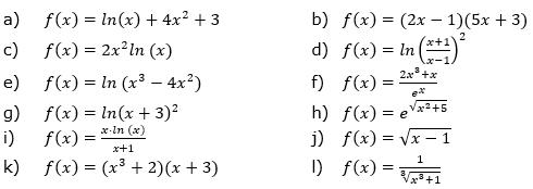 Bilde die 1. Ableitung der gegebenen Funktionsgleichungen und vereinfache so weit wie möglich. (Grafik A330101 im Aufgabensatz 1 Blatt 3/3 Expert Ableitungen vermischte Aufgaben /© by www.fit-in-mathe-online.de)
