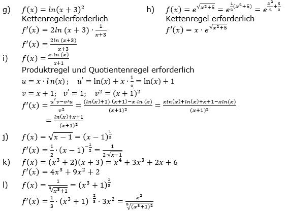 Ableitungen vermischte Aufgaben Lösungen zum Aufgabensatz 1 Blatt 3/3 Expert Bild 2/© by www.fit-in-mathe-online.de