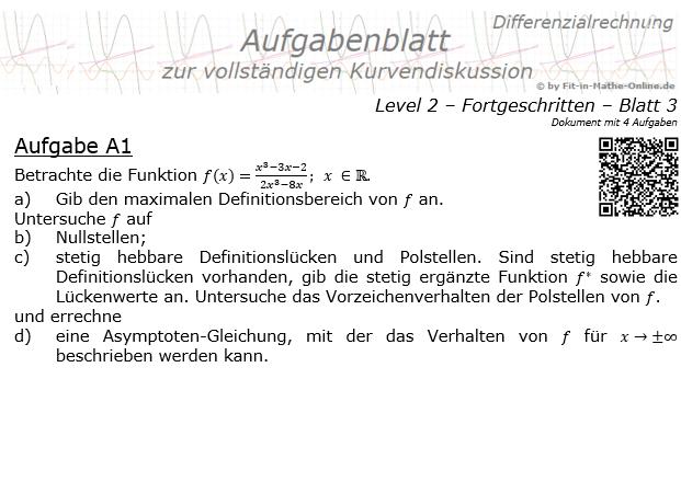 Kurvendiskussion gebrochen rationale Funktionen der Funktionsklassen Aufgabenblatt 2/3 / © by Fit-in-Mathe-Online.de