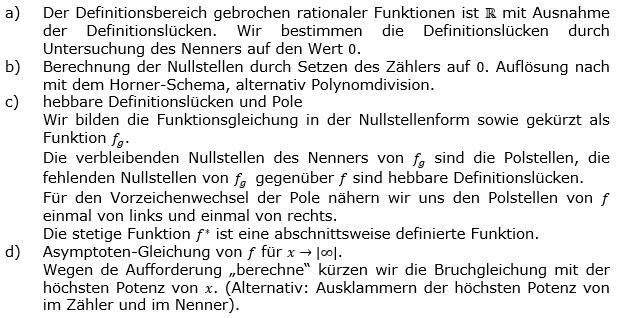 Vollständige Kurvendiskussion Lösungshilfe zum Aufgabensatz 1 Blatt 2/3 gebrochen rationale Funktionen Grundlagen Bild 1/© by www.fit-in-mathe-online.de