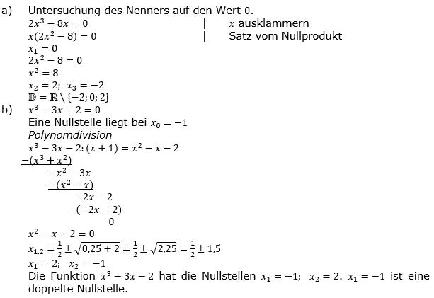 Vollständige Kurvendiskussion Lösung a-b) zum Aufgabensatz 1 Blatt 2/3 gebrochen rationale Funktionen Grundlagen Bild 2/© by www.fit-in-mathe-online.de