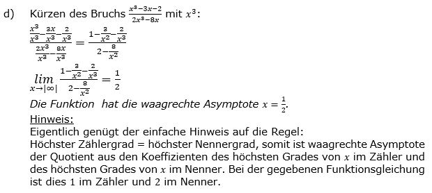 Vollständige Kurvendiskussion Lösung d) zum Aufgabensatz 1 Blatt 2/3 gebrochen rationale Funktionen Grundlagen Bild 4/© by www.fit-in-mathe-online.de