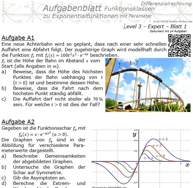 Exponentialfunktionen der Funktionsklassen Aufgabenblatt 3/1 / © by Fit-in-Mathe-Online.de