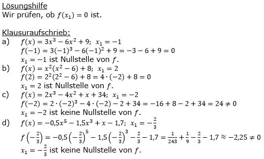 Ganzrationale Funktionen Lösungen zum Aufgabensatz 2 Blatt 1/3 Grundlagen Bild 1/© by www.fit-in-mathe-online.de