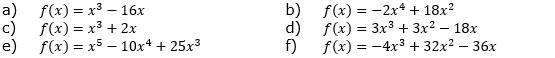 Berechne die Schnittpunkte der Graphen der Funktionen mit den Koordinatenachsen. (Grafik A130501 im Aufgabensatz 5 Blatt 1/3 Grundlagen zu Ganzrationalen Funktionen in den Funktionsklassen /© by www.fit-in-mathe-online.de)